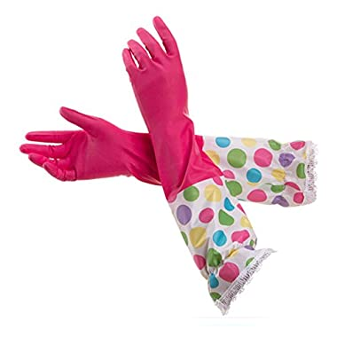 Sealike Polka Dot Floral Flower Ruffles Water Stop Waterstop Gloves Household Gloves Dishwashing Gloves Cleaning Gloves Latex Gloves with Stylus Hot Pink