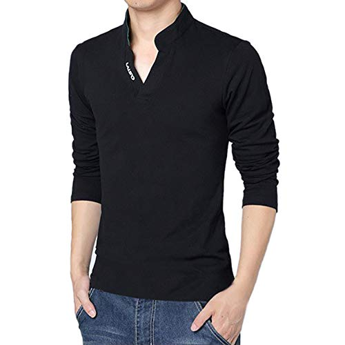 (OSTELY Men's Pullover, Fashion Elegant Solid Color T-Shirt Autumn V-Neck Long Sleeve Top Fitted Slim Blouse(Black,Medium))