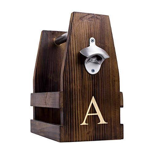 Cathy's Concepts Personalized Rustic Craft Beer Carrier with Bottle Opener, Letter A