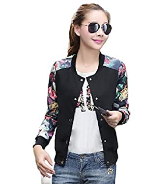Howely Womens Raglan Button Down Printed Leopard Printed Outwear Varsity Jackets Black 2XL