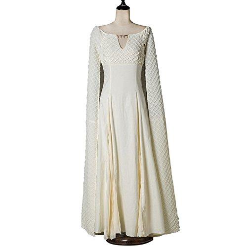 Daenerys Targaryen Costume for Women, Halloween Dragon Queen Cosplay Dress Beige (Small) ()