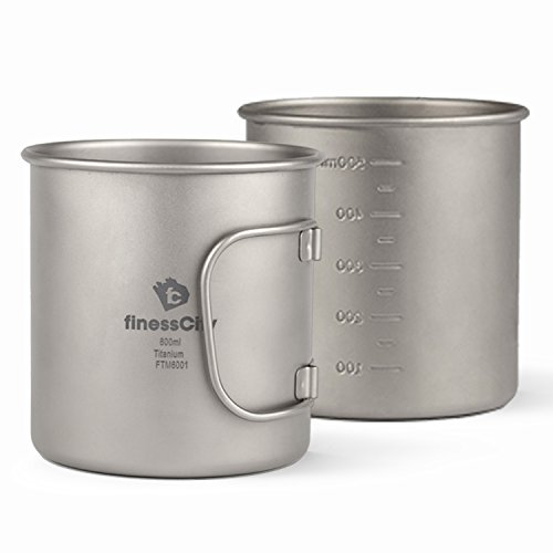 Camp Mug (450ml/ 600ml) With & Without Lid, Strong & Lightweight Camping Mug/Pot With Measurement Marks, Folding Titanium Cup for Backpacking/ Hiking/ Camping in Cloth Case (600ml, Mug without Lid)