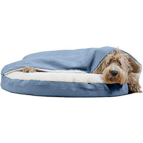Nest Large Bed Cover - FurHaven Pet Dog Bed | Orthopedic Round Faux Sheepskin Snuggery Burrow Pet Bed for Dogs & Cats, Blue, 35-Inch