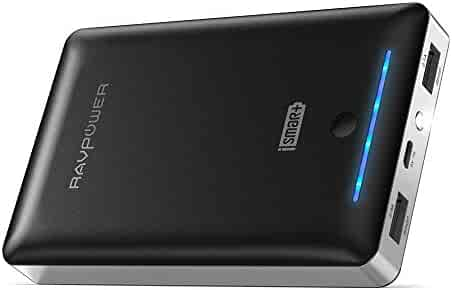 Power Banks 16750 RAVPower 16750mAh Phone Battery Charger Portable Chargers External Battery Pack 4.5A Dual USB Output Power Pack for iPhone X, iPhone 8, Galaxy S9, iPad, Android Devices (Black)
