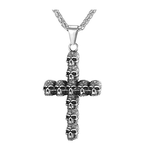 U7 Men's Gothic Skull Jewelry Black Enamel Stainless Steel Punk Skeleton Cross Pendant -