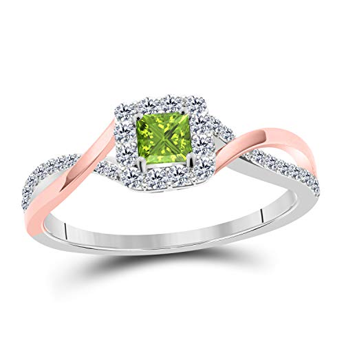 (Womens Princess Cut Cubic Zirconia Infinity Twisted Engagement Promise Ring 14K Two-Tone Gold Plated Alloy Princess Cut CZ Green-Peridot Solitaire Ring)