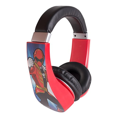 Power Rangers 30332  Kid Safe Over the Ear Headphone with Volume Limiter, Black and Red by Sakar