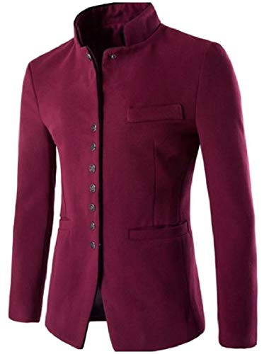Wool Collar Solid Breasted Stand Red Blend Wine Tunic Single Men Suit Jacket RkBaoye Chinese 0Zn15v8xwq