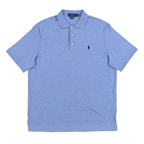 (Polo Ralph Lauren Mens 3 Button Interlock Polo Shirt (Large, Light Blue Heather))