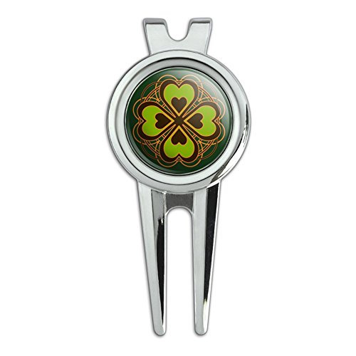 GRAPHICS & MORE Four Leaf Clover Lucky Golf Divot Repair Tool and Ball Marker