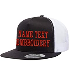 Custom Trucker Hats Embroidery Personalized Yupoong Mesh Snapback Hat - Black White