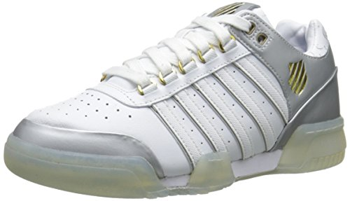K-Swiss Women's Gstaad Athletic, White/Silver/Gold, 9.5 M US