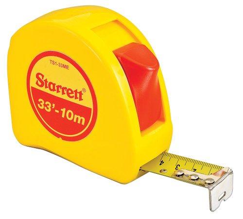 (Starrett KTS1-33ME-N ABS Plastic Case Yellow Measuring Pocket Tape, English/Metric Graduation Style, 33' (10m) Length, 1