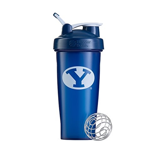 BlenderBottle Collegiate Classic 28-Ounce Shaker Bottle, Brigham Young University Cougars - Blue/White