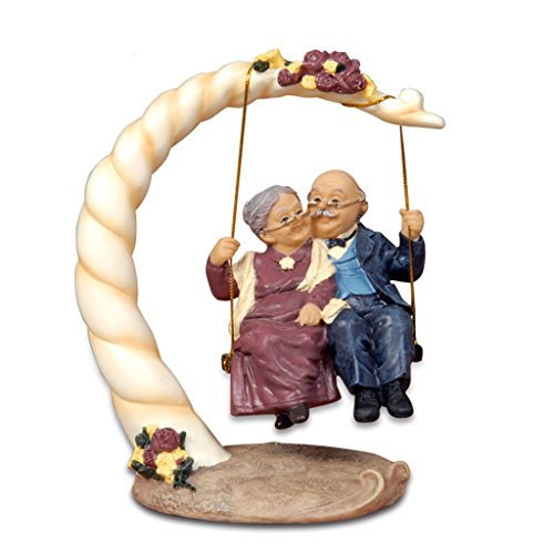 Nanxin Love Grandparents Parents Anniversary Wedding Gift Resin Loving Elderly Couple Figurines Decoration Old Age Life Home Decor for Bedroom Living Room with Gift Card (Swing)