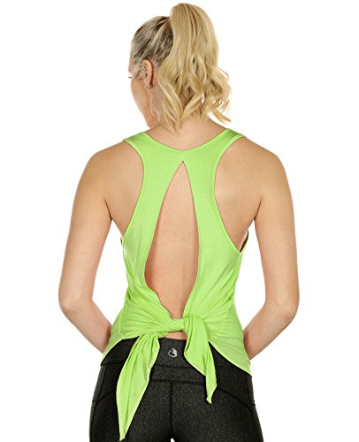 - icyzone Sexy Yoga Tops Workout Clothes Racerback Tank Top for Sport Women (S, Greenery)