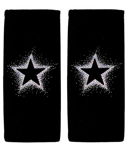 - ALLBrand Car Truck Crystal Bling Rhinestone Studded Seat Belt Cover Shoulder Pad Cushion - Pair (Empty Star/Black)
