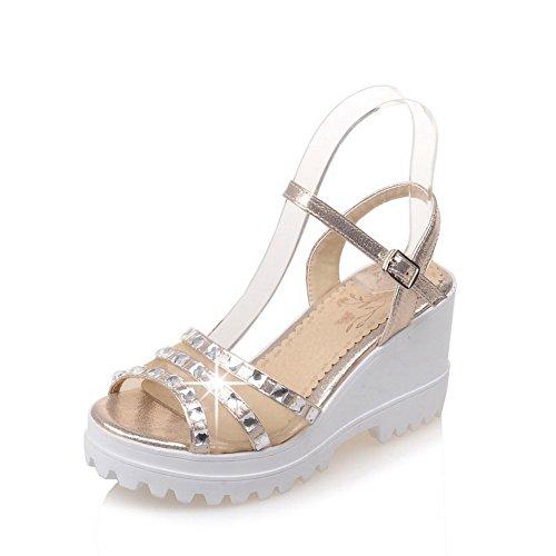 Urethane AdeeSu Rhinestones Womens Platforms Platform Wedges SLC03658 Sandals Gold wwH4IT