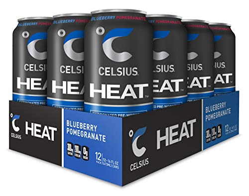 (CELSIUS HEAT Blueberry Pomegranate Performance Energy Drink, ZERO Sugar, 16oz. Can, 12 Pack)