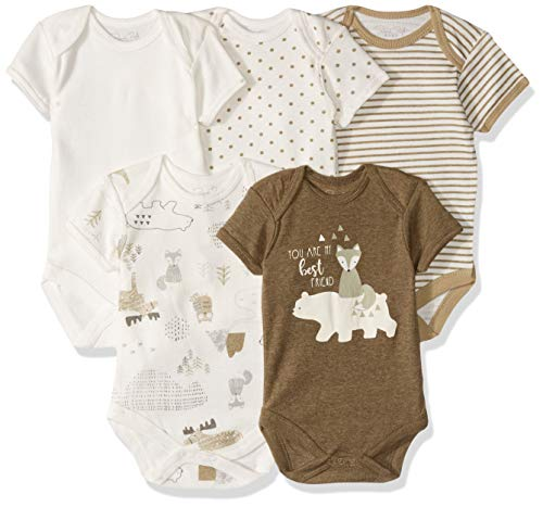 - Rene Rofe Baby Baby Collection Unisex 5-Pack Bodysuits, Olive Green/Fox/Polar Bear/Best Friends, 6-9 Months