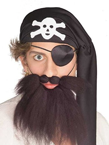 Adult Brown Pirate Costume Beard and Moustache (Blackbeard Costume Beard)