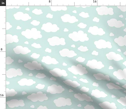- Spoonflower Clouds Fabric - Clouds Baby Nursery Neutral Decor Upholstery Clouds Sky Mint Weather Nursery Baby by Heleenvanbuul Printed on Organic Cotton Knit Ultra Fabric by The Yard