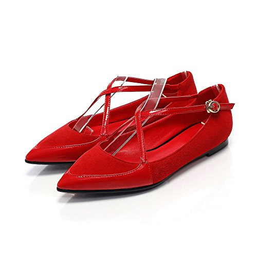 Sandals Pointed Soft Solid No Material Women's Toe Closed Red Heel AllhqFashion Buckle qAv7Ux