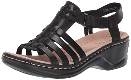 (CLARKS Women's Lexi Bridge Sandal, Black Leather, 085 W US)