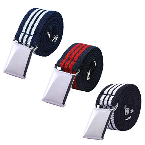 Toddler Boy Kids Buckle Belt - Adjustable Elastic Child Silver Buckle Belts, 3 Pieces (Navy Blue&red Stripe/White&black Stripe/Navy Blue&white Stripe)