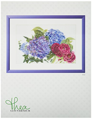 Thea Gouverneur 442A Hydrangea and Rose on 16 Count Aida, Counted Cross Stitch Kit, 18.1-Inch-by-11.8-Inch