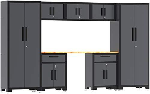 TCE Torin Garage Workshop Tool Organizer Storage Cabinets: 8 Piece Set with Lockers, Shelves and Wood Worktop, Black/Grey
