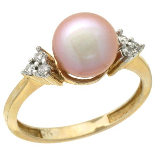 14k Gold 8.5 mm Pink Pearl Rin