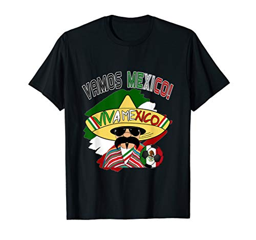 Funny Vamos Mexico Big Hat Soccer Fan Men Women shirt ()