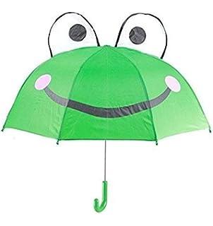 Gwill Lovely Cartoon Animal Rana niños Paraguas para niños niñas y niños bebé Escuela Primaria Estudiantes