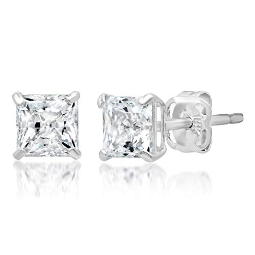 14k Solid White Gold PRINCESS Stud Earrings with Genuine Swarovski Zirconia | 1.0 CT.TW. | With Gift Box ()