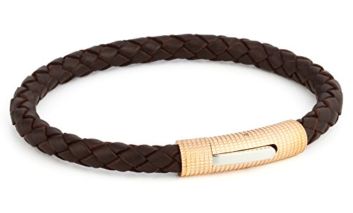 Ion-plated Rose Gold Stainless Steel Clasp with Genuine Braided Leather Bracelet for Mens Womens (Brown Rose Gold 8 1/4