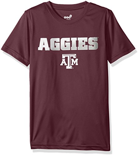 Genuine Stuff NCAA Texas A&M Performance Short Sleeve Tee, M(10-12), Classic Maroon