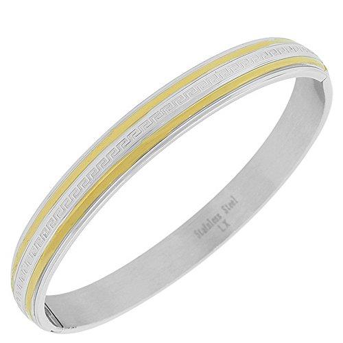 My Daily Styles Stainless Steel Two-Tone Greek Key Cuff Bangle Bracelet