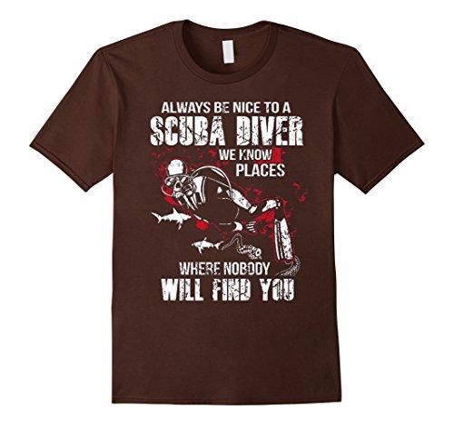 [Men's Always Be Nice To A Scuba Diver T-shirt 3XL Brown] (Scuba Diver Costumes)