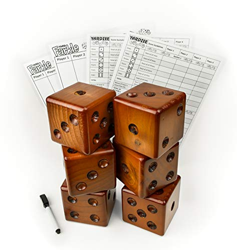 Yardzee Yard Dice Yard Farkle Dice Package, Large Wood Dice with Laminated Score Cards and Yard Farkle score cards, Yard games, Out door games, Wedding Games, Camping Games