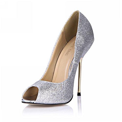f3a4822588 Métal stiletto Coloris aiguille bout Brillant plusieurs Chmile sexy argent  escarpins Femmes Haut Ouvert talon b Chau NXn80wZOPk