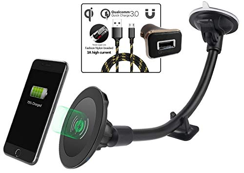Magnetic Wireless Car Charger, 2BConnect Premium Strong Mount Boost Charging Kit Includes CQ3.0 Adapter, 3A Cable for Qi Enabled Device Such as iPhone X 8/Plus, Samsung Galaxy S9/S8 + Edge