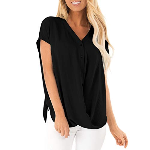Sunmoot Women Casual Cold Shoulder Blouse,V-Neck Loose Basic Solid Shirts Tunics