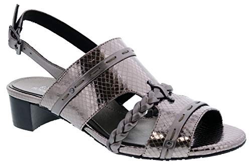 Ros Hommerson Vacay 67032 Women's Dress Sandal: Pewter/Leather/Snake 6.5 X-Wide (2E) Buckle ()