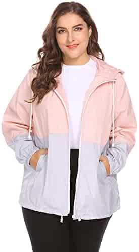 8c5bc08779e IN VOLAND Women s Plus Size Raincoat Rain Jacket Lightweight Waterproof  Coat Jacket Windbreaker with Hooded