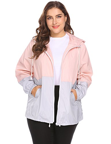 IN'VOLAND Women's Plus Size Rain Jacket Lightweight Hooded Waterproof Active Outdoor Rain Coat, pink, ()