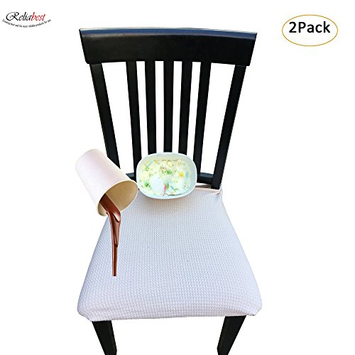 Cushion Cover Seat (Waterproof Dining Chair Cover Protector - Pack of 2 - Perfect For Pets, Kids, Elderly, Wedding, Party - Machine Washable, Elastic, Removable,Many Color Choices, Clean the Mess Easily (Beige))