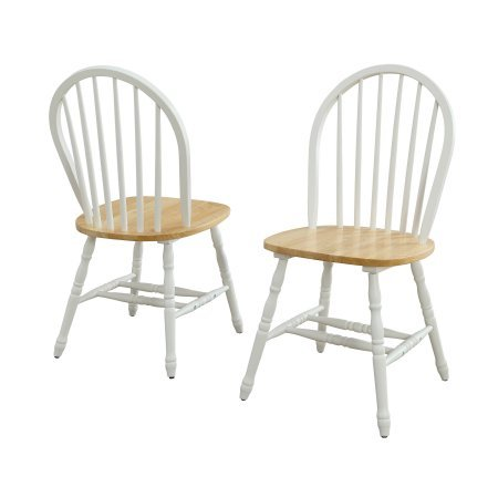 Better Homes and Gardens Autumn Lane Windsor Chairs, Set of 2, White and Natural from Better Homes and Gardens