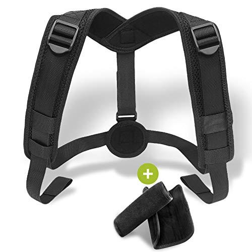 Posture Corrector Brace for Women & Men - Adjustable Upper Back Support to Improve Bad Posture - Comfortable Device for an Upright, Natural & Proper Posture (Black - - Upright Adjustable Support