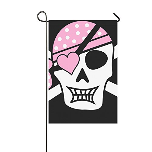 (Home Decorative Outdoor Double Sided Pirate Skull Skull And Crossbones Eye Patch Pink Garden Flag,house Yard Flag,garden Yard Decorations,seasonal Welcome Outdoor Flag 12 X 18 Inch Spring Summer Gift)